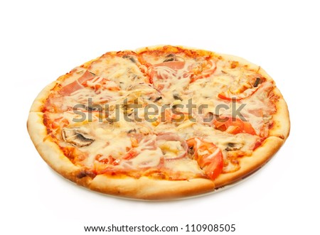 Pizza with salami, tomatoes and chicken isolated on white - stock photo