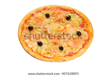 pizza with salmon on white
