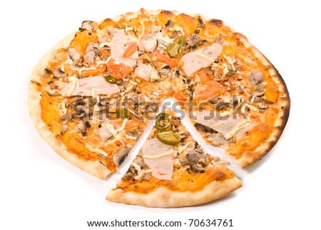 Pizza with sauce, cheese, ham, sausage, tomato, pork, mushrooms, jalapeno pepper