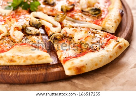 Pizza with seafood - stock photo