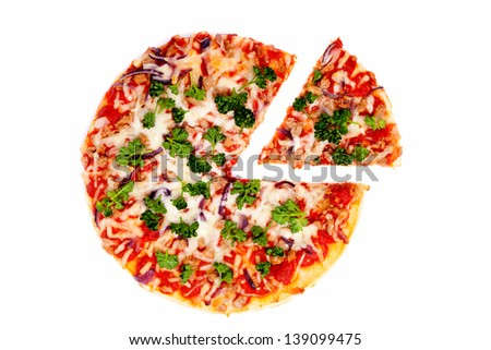 Pizza with the cut off slice on a white background - stock photo