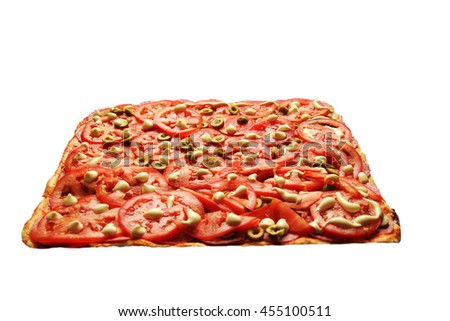Pizza with tomatoes and olives on a white background