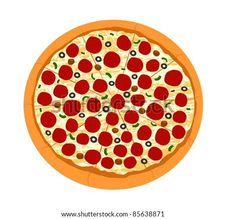 Pizza with Toppings from Top View Illustration - High Resolution JPEG Version (vector version also available). - stock photo