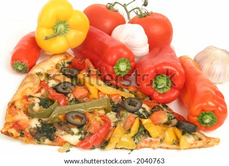 Pizza with vegetables (Isolated) - stock photo