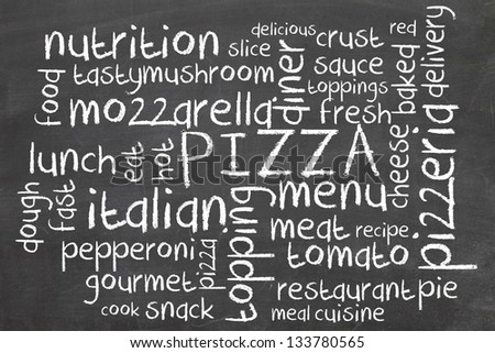 pizza word cloud on blackboard - stock photo