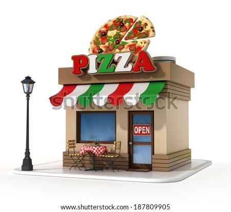 pizzeria 3d illustration - stock photo