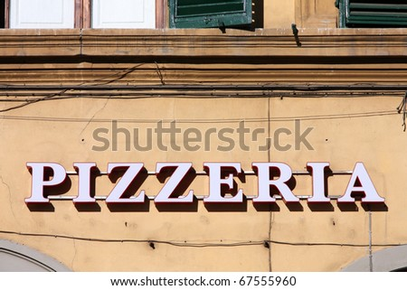 Pizzeria - generic restaurant sign in Florence, Italy - stock photo