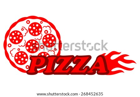 Pizzeria icon depicting a  red hot salami or pepperoni pizza with fiery flames and red text - stock photo