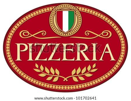 pizzeria label design - stock photo