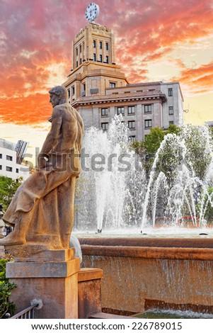 Placa de Catalynia(Square  of Catalunia) ,Barcelona.Spain. - stock photo