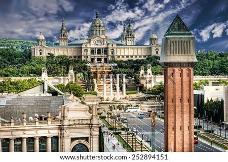 Placa De Espanya, the National Museum in Barcelona. Spain - stock photo