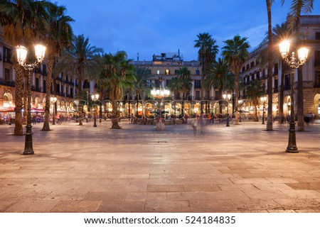Placa Reial in Barcelona at night, Royal Square in historic city centre, Barri Gotic quarter, Catalonia, Spain