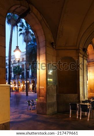Placa Reial in evening. Barcelona, Spain - stock photo