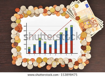 placard with chart and money - stock photo