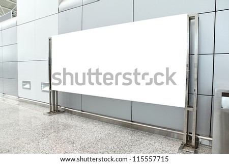 Placard with empty copy space in airport (path in the image), shot in china, Guangzhou airport - stock photo