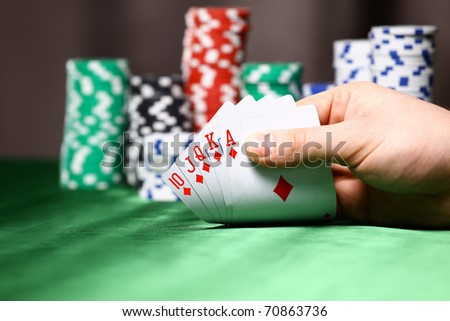 Place a poker player. chips and card - stock photo