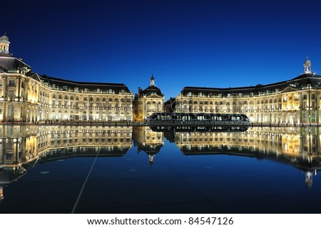 Place de la Bourse, of Bordeaux with reflectance from the water, France - stock photo
