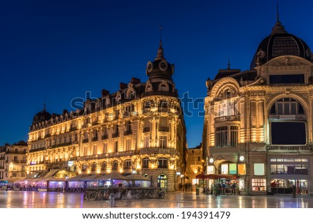 Place de la Comedie in Montpellier  - stock photo