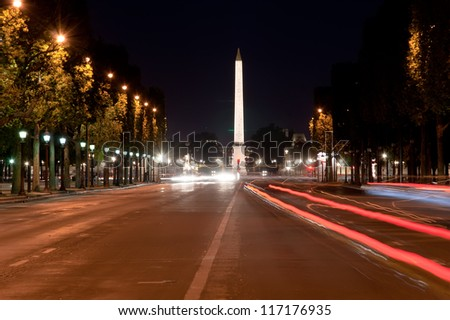 Place de la Concorde and  Obelisk of Luxor at Night, Paris, France - stock photo