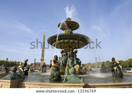 place de la concorde in the beautiful city of paris france - stock photo