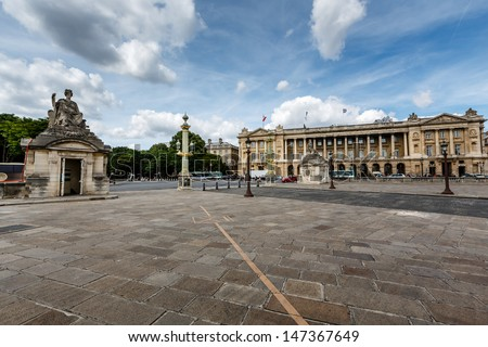 Place de la Concorde on Cloudy Day in Paris, France - stock photo