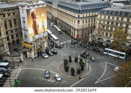 PLACE DIAGHILEV, PARIS, FRANCE - DECEMBER 15; Parisian shoppers and tourists flock to Place Diaghilev for luxury shopping and entertainment on December 15, 2014 in Paris, France
