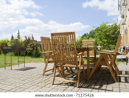 Place for a barbecue near to an apartment house - stock photo