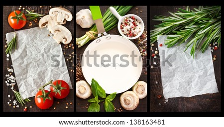 Place for note or recipe surrounded by food ingredients. Collage.