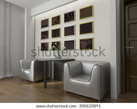 place for rest in modern interior 3d image - stock photo