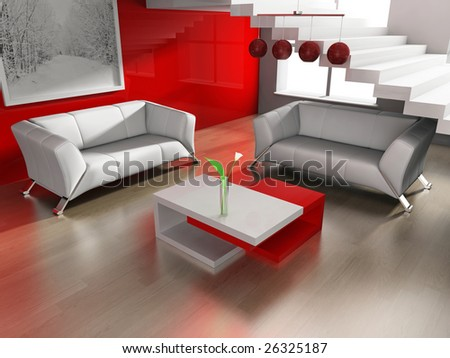 place for rest in office or apartment 3d image