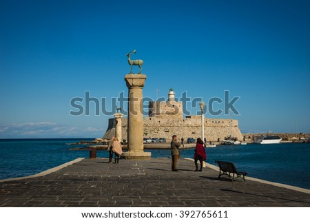 Place in the port of Rhodes, where stood the Colossus of Rhodes, Greece