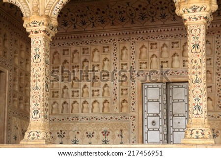 place of Raja in red Agra Fort palace - stock photo