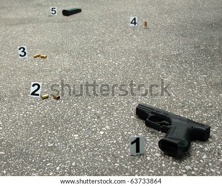 Place of shooting -inspection of the scene - stock photo