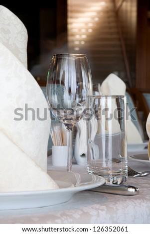 Place on a banquet table for a welcome guest - stock photo