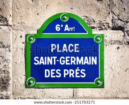 Place Saint-Germain des Pres street sign in Paris, France  - stock photo