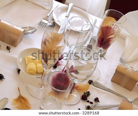 Place setting at wedding reception - stock photo