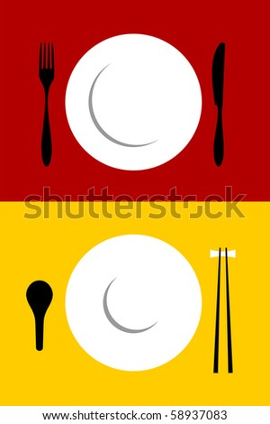 Place setting backgrounds for Western and Oriental food. Fork, knife, plate, spoon and chopsticks on red and yellow background. - stock photo