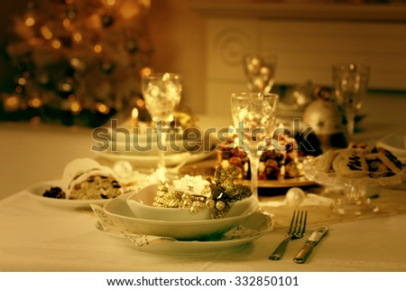 Place setting for Christmas in vintage colors - stock photo