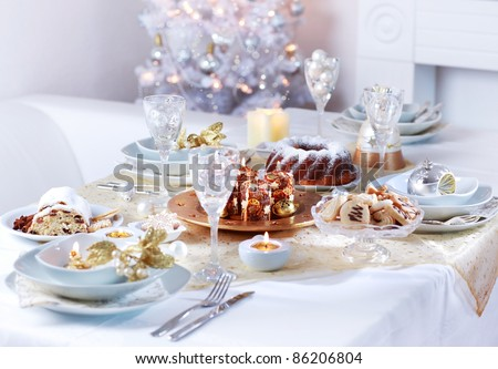 Place setting for Christmas in white tone - stock photo