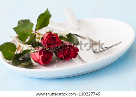 place setting for valentines day - stock photo