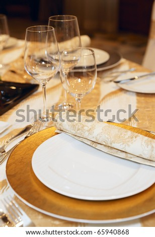 Place setting in a posh restaurant - stock photo