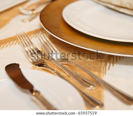 Place setting in a restaurant, close-up shot