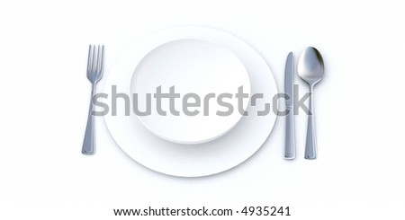 Place setting in white shades