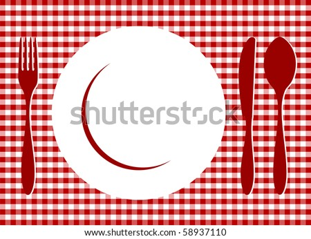 Place Setting. Plate, spoon, fork, knife and plate on red cross-weave gingham tiles tablecloth. Food, restaurant, menu design with cutlery and plate silhouettes background. - stock photo