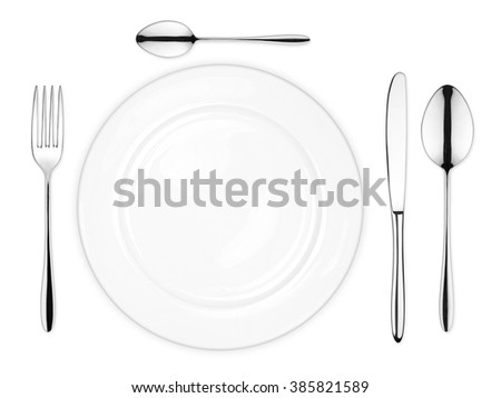 place setting with empty dish fork spoon and knife isolated on white background