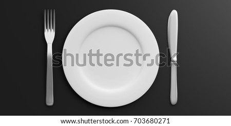 Place Setting with Plate Knife and Fork isolated on black background. 3d illustration & Place Setting Plate Knife Fork Isolated Stock Illustration 703680271 ...