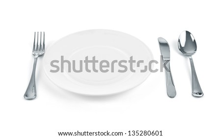 Place setting with plate, knife, fork and spoon on white - stock photo