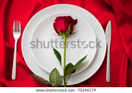 place setting with red rose - stock photo