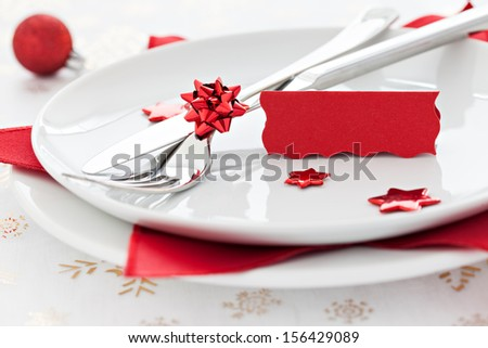 place setting with tag and copy space   - stock photo