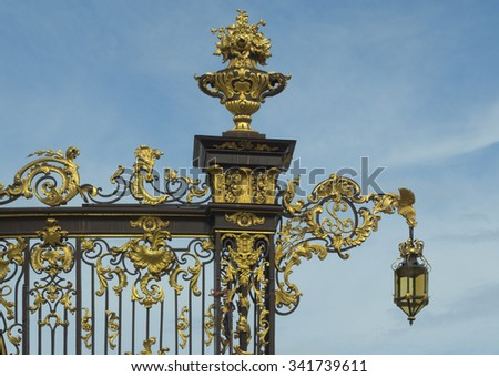 Place Stanislas with artfully wrought iron fencing in Nancy France - stock photo
